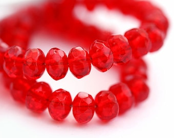 Red Czech glass beads spacers - donuts gemstone cut - 3x5mm - 35pc - 0413