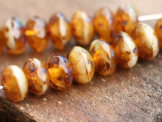Brown and beige Picasso Czech glass beads, donut, rondelle, gemstone cut - 5x8mm - 15Pc - 0409