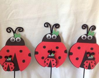 Ladybug Centerpiece Picks