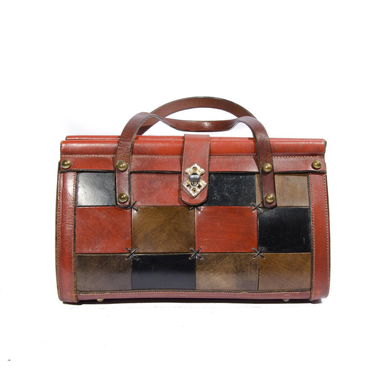 Vintage Fall Color Leather Patchwork Leather Handbag Oxblood