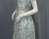 VINTAGE 1950s dress, sheer blue floral print, RHINESTONE button belt, full skirt, cute collar