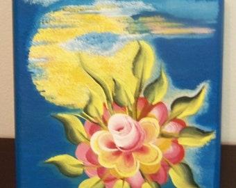 "Original Painting ""Blazing Hot Rose"" on Keepsake Wooden Box"
