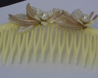 Vintage Pale Yellow with Gold Floral and Pearl Haircomb