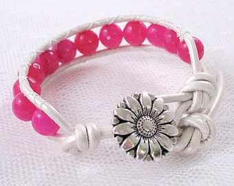 Hot Pink Faceted Gemstone Leather Wrap Bracelet - Small, Teen or Child Size - Neon - Gifts Under 15
