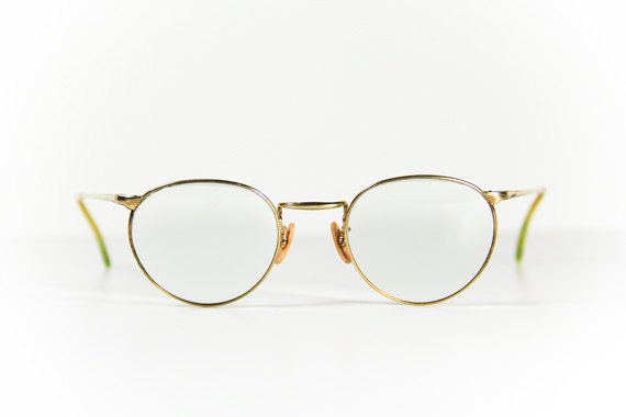 Gold Frame Glasses Nas : Steampunk Round Glasses Spectacles Gold Green Frames FREE