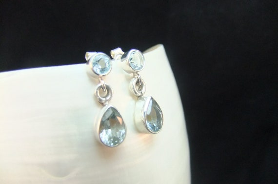 Stunning Blue Topaz Sterling Silver Earrings