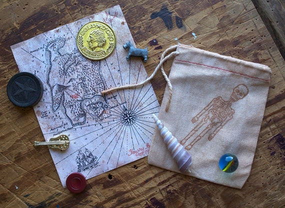 Sack of Pirate Treasure and Map for Kids who like Adventure