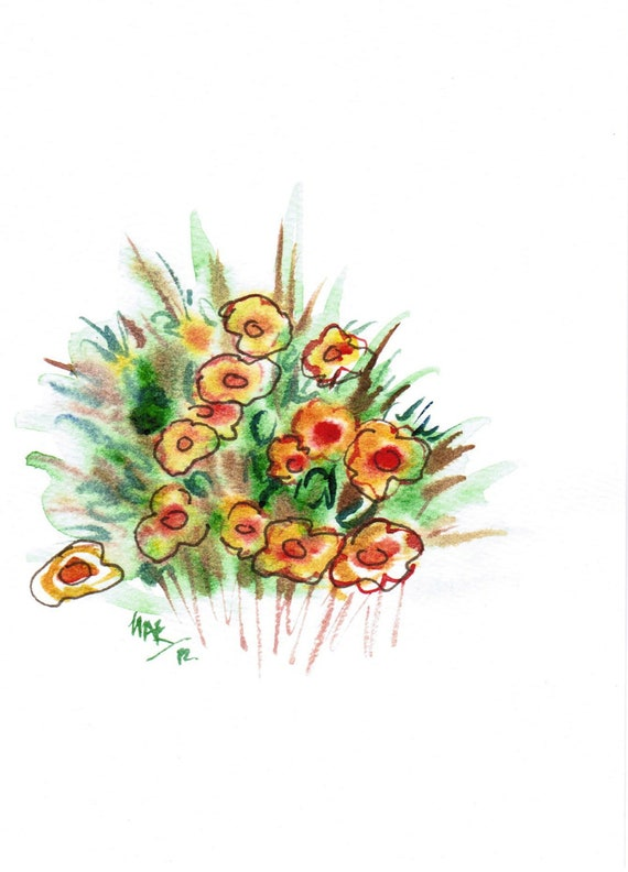 EOF Handpainted Note Card Greeting Card Any occasion Blank Fall Halloween Wildflowers Floral Original Watercolor Art Gardening