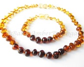 Set Of Baltic Amber Teething Necklace and Bracelet/Anklet Rounded Rainbow Color Beads