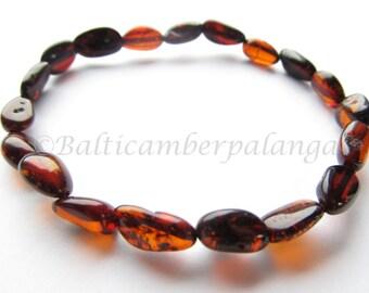 Baltic Amber Cherry Color Stretchy Bracelet