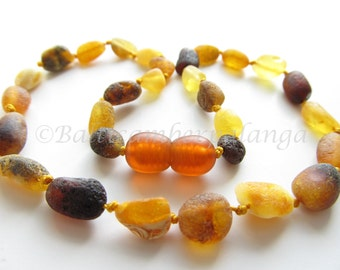 Baltic Amber Baby Teething Necklace, Raw Unpolished Olive Form Multicolor Beads