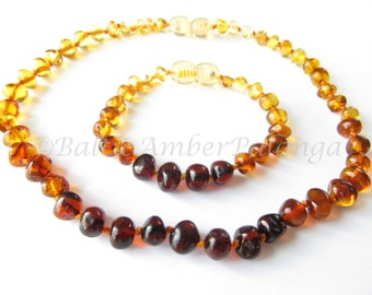 Baltic Amber Baby Teething Necklace and Bracelet/Anklet, Rainbow Color Rounded Beads