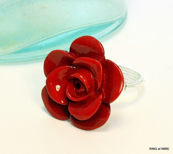 Red Flower Button Ring with Silver Wire