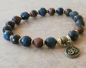 Balance Blue & Red Tiger Eye Grade A Meditation Buddhist Yoga bracelet with Buddha, Reiki Charged, free shipping