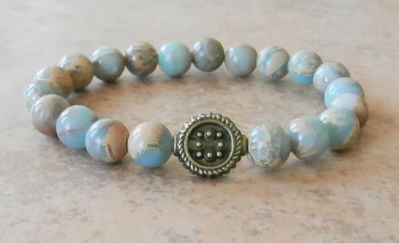 Meditation Grade A Aqua Terra Jasper mala bracelet, Yoga Bracelet, Meditation bracelet, Reiki Charged, free shipping