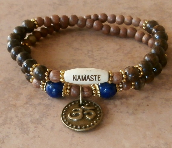 Protection Om with Lapis Lazuli, Bronzite & Rosewood Yoga wrap with engraved Namaste wood bead, Meditation bracelet, boho, free shipping