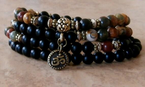 Grounding 108 Mala Picasso jasper & ebony wood with Om, Meditation wrap bracelet or necklace,Reiki Charged, free shipping