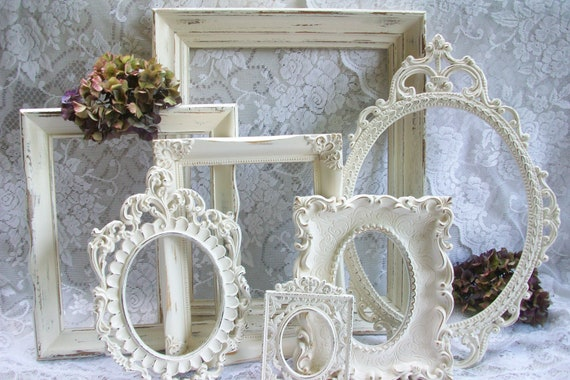 Shabby Chic Frames, Distressed Creamy White Frames Collection, Vintage Frame Set, Ornate Frames, Wedding Decor, Wall Gallery, Wall Display