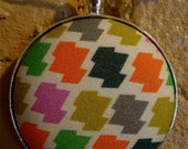 Houndstooth Fabric Button Geometric Pendant Necklace