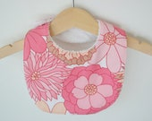 Pink Floral bib from upcycled vintage fabric - small