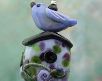 Wisteria Cottage Birdhouse Pendant, Torchwork Jewelry Handcrafted in North Carolina
