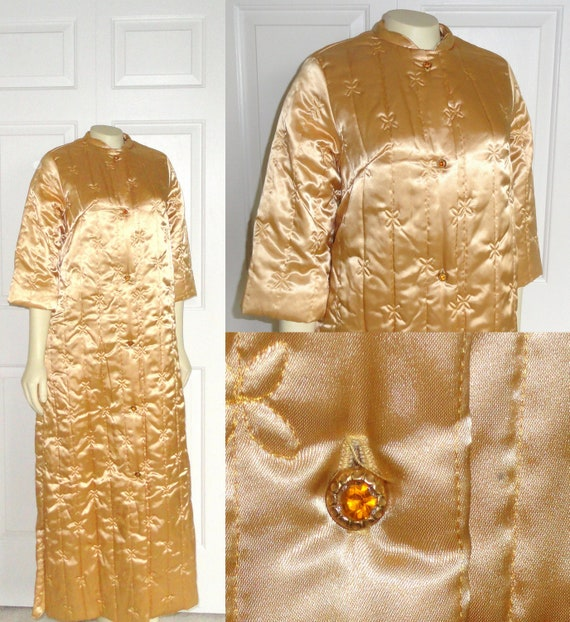 Vintage Robe 50s Asian Oriental Satin Quilted Robe Gold with Amber Buttons RARE
