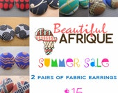 Summer sale - African fabric button earrings