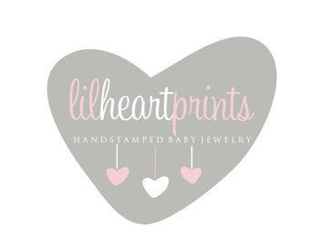 Premade Logo Design for Photographers and Small Crafty Boutiques Grey Heart with Dangling Hearts