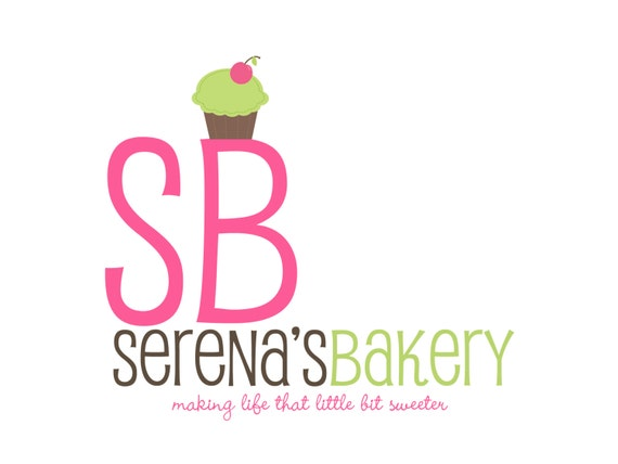 Premade Logo Design for Photographers and Small Crafty Boutiques Bold Cupcake with Large Text