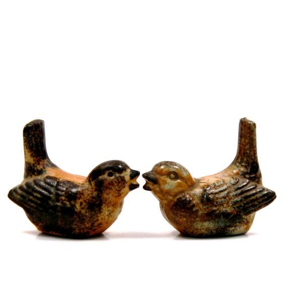Little Bird Figurines, Vintage 1960s Rustic Stoneware