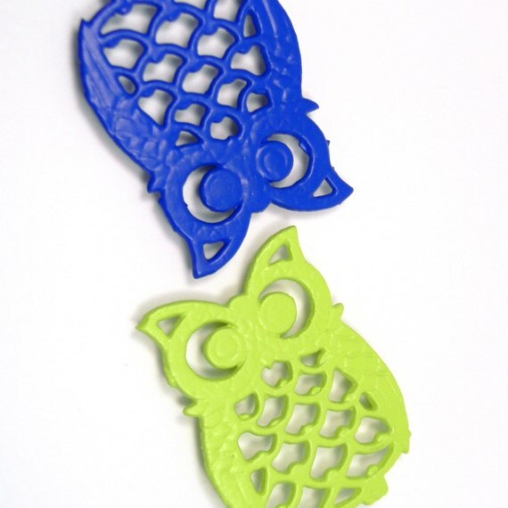 Bright Owl Coasters, Upcycled Vintage 1970s Lime & Electric Blue