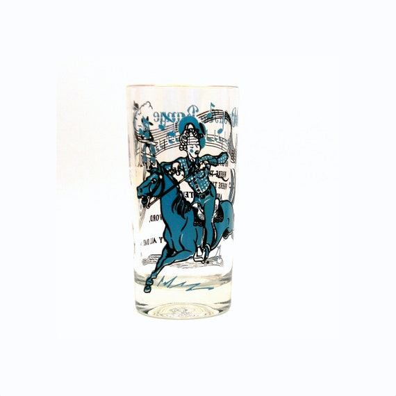 Cowgirl Pinup Glass, Vintage 1950s Home On The Range Western Collectible