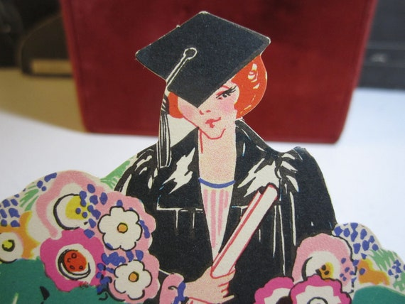 Art Deco die cut Place Card Deco girl with diploma for a graduation party 1920's Chas. S. Clark