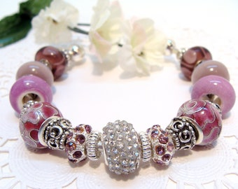 Radiant Orchid and Lavender Cloisonne Beaded Cuff Bracelet with Crystals