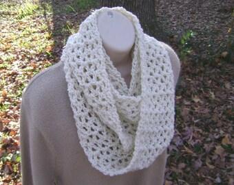 Crochet Ivory Infinity Cowl Scarf Mobius Men Women Teen