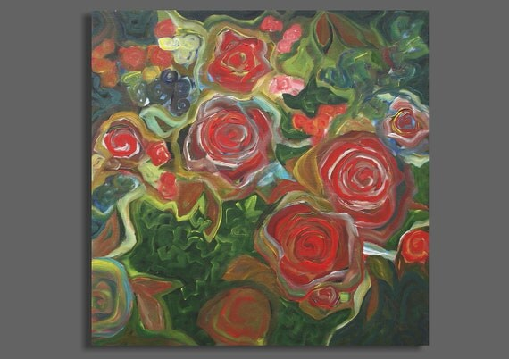 Large Abstract Painting - I Dreamed of Roses - (24x24) Original Acrylic Painting