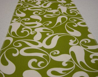 Chartreuse Table Runner with Ivory Tear Drops