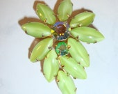 RESERVED FOR vICTORIA ZILLA Vintage Lime Green Marquis Glass Stone and Rhinestone Brooch