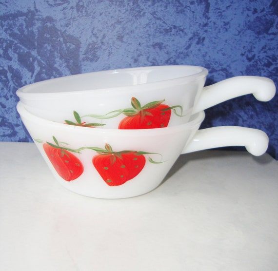 Vintage Fire King Hand Painted Strawberry French Handled Casserole Bowls