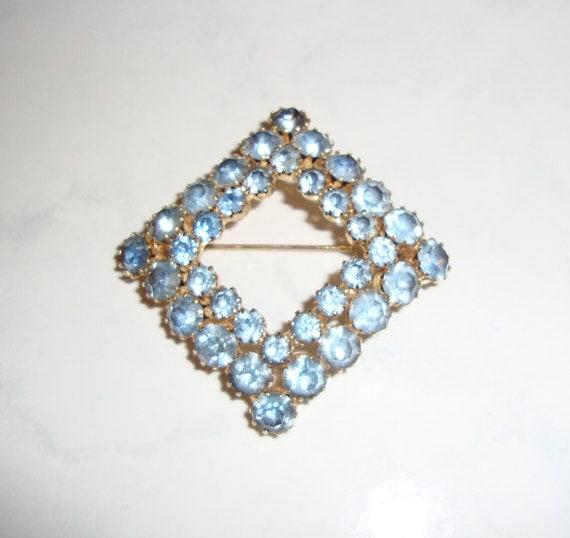 Vintage Square Blue Rhinestone Brooch Pin