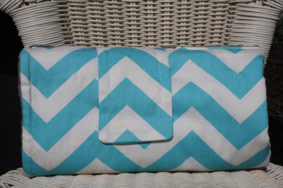 items similar to on the go changing pad aqua chevron and minky interior on etsy. Black Bedroom Furniture Sets. Home Design Ideas