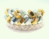Two Tone Hex Nut Double Wrap Braided Bracelet in White