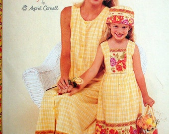 McCalls Dress Pattern No 2102 UNCUT Sizes 8 to 22 Girls Sizes 3 to 8 Mommy and Me by April Cornell Sundresses Hat & Bag