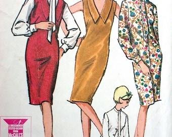 "McCalls Dress Pattern No 7421 Vintage 1960s Size 13 Bust 33"" Jumper or Dress & Blouse Sleeveless or Long Sleeves V Neckline Back Zipper"