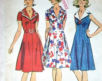"""Simplicity Dress Pattern No 5401 Vintage 1970s UNCUT Size 12 Bust 34"""" Short Sleeves or Sleeveless Princess Seams Back Zipper Notched Collar"""