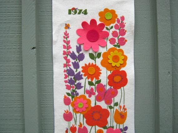 1974 Felt Flower Calendar - Flower Power Felt 1974 Calendar