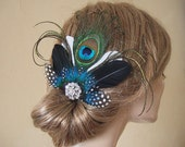Peacock Fascinator with Guinea Fowl Feathers and Crystal Brooch Blue Green on Clip - Bridal Bridesmaids MNB106