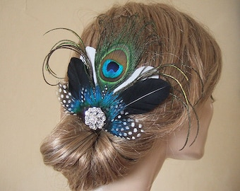 Elegant Peacock Fascinator with Guinea Fowl Feathers and Crystal Brooch Blue Green on Clip - Bridal Bridesmaids MNB106 Wedding 1920's Bride