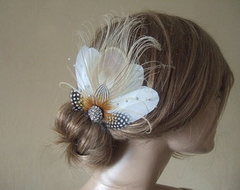Cream White Gold Peacock Fascinator with Guinea Fowl Lady Amherst Feathers + Crystal Brooch Clip - MNB106W - Rustic Vintage Wedding - Bride