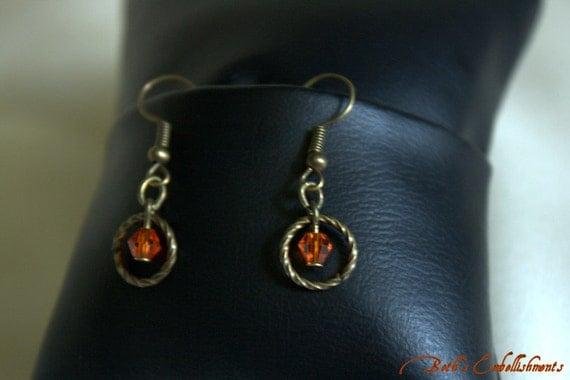 RESERVED FOR Ingrid Sadler - Burning Fire burnt orange Swarovski crystal Earrings-bridesmaid gift- fall wedding- mother of the bride